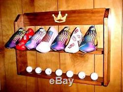 Golf Club Putter Head covers Rack Solid Wood Display Case for 14 Scotty Camerons
