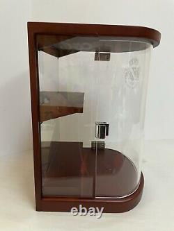 Grand Marnier Curio Cabinet Display Case Shelf Etched Glass Wood Custom Made