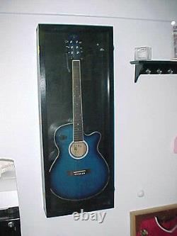 Guitar Display Case Wood Acoustic Electric Guitar Case Black Finish / Red FELT