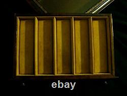 HORCHOW Brown Leather Glass Collectors Display Tray Watch Jewelry Box Case