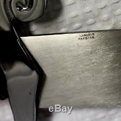 Hand-Crafted Stainless Steel Scimitar Sword, Oak Display Case & Vinyl Hip Sheath