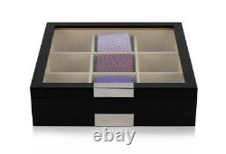 Hand Made Wooden Glass Tie Box Storage Case Display Organiser Large Key 49c