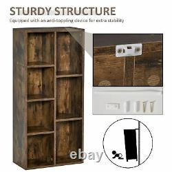 Industrial Style Bookcase Rack Wooden Storage Display Shelves Office/Study Brown