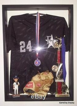JERSEY Display Case Frame Box Shirt Little League Baseball Deep White Wood