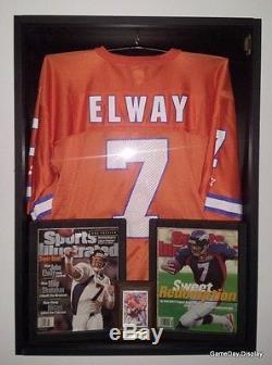 JERSEY Display Case Frame Shadow Box Football Hockey Baseball Deep Black Wood