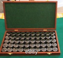 Jarrah Gold Nugget & Gem Stone Display Case with solid Lid 50 Gem Jar Inserts