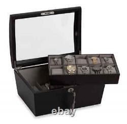 Java Watch Lock Box Display Case, 14 Section Wood Storage Holder Organizer, New