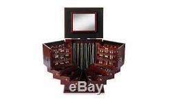 Jewelry Organizer Walnut Storage Case Wood Display Deluxe Box Cabinet Wooden