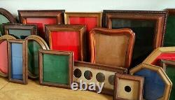 Joblot Antique Vtg Wooden Coin Frames Case Collection Display Holders x20