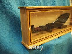 Knife/Sword Display Case Wood & Glass Oak withWalnut Inlay Brass Hardware