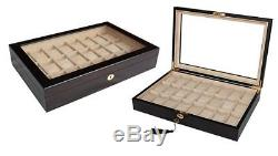 Large 24 (20 + 4) Ebony Wood Mens Watch Display Case Collector Jewelry Box