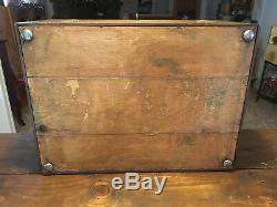 LARGE ANTIQUE BAILEY, BANKS, & BIDDLE JEWELERS FLATWARE DISPLAY BOX with 2 DRAWERS