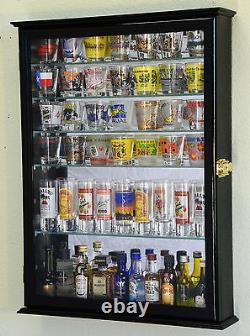 L Shot Glass Shooter Display Case Cabinet Rack Holder Locks Adjustable Shelves