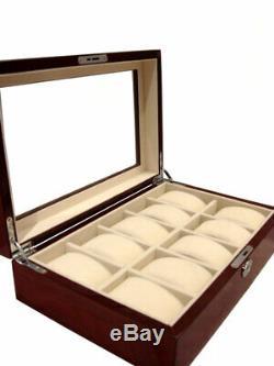 Large 10 Wrist Watch Storage Case Box Display Chest Cherry Wood Cabinet Lockable