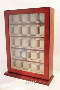 Large 20 Wrist Watch Budgina Wood Storage Display Wall Cabinet Box Case Chest