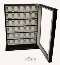 Large Black Matt 30 Wrist Watch Storage Cabinet Box Display Wooden Case