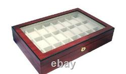 Large Watch Storage Wood Display Chest Box Display Wooden Case Lockable Cabinet