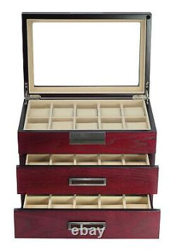 Large Wrist Watch Cherry Oak Wood Storage Display Box Display Case Chest Cabinet