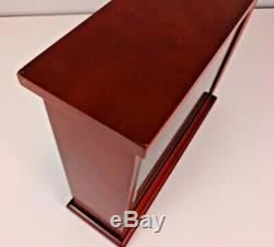 Levenger Dark Cherry Finish & Glass 20 Pen/brush Display Case