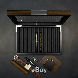 Lifomenz Co Wood Pen Display Box 10 Pen Organizer Box, Glass Pen Display Case Sto