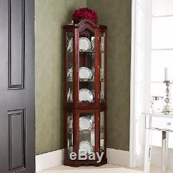 Lighted Display Cabinet Glass Corner Curio Case Shelves Mahogany China Wood