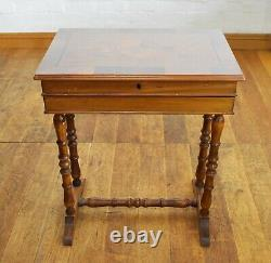 Lockable Inlaid sewing table collectors display case side table