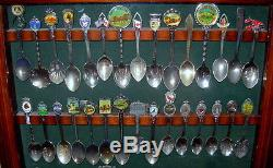 Lot of 60 Vintage Collectible Souvenir Spoons in Beautiful Wood Display Case