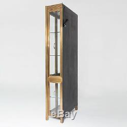 Luxe Antique Style Apothecary Cabinet Display Case Wood Brass Vitrine Lighted