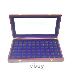 Luxurious Cherry Wood Sixty-Hole Championship Ring Display Case With Lid