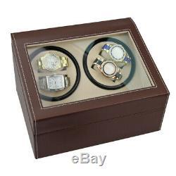 Luxury Leather Watch Winder Storage Auto Display Box 4+6 Automatic Case