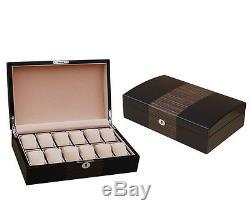 Luxury Watch Box gloss solid Wood ebony watches display storage case organiser