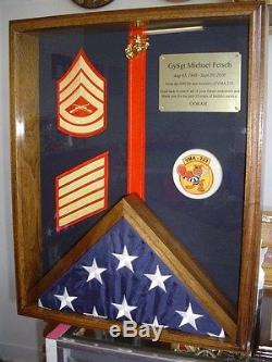 Military Flag Medals Ribbons Shadow Box Display Case Solid Wood Pcs Gift