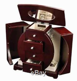 Mahogany Jewelry Box Organizer Wood Display Storage Case, Ring Necklace, Mirror