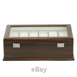 Matt Ebony Wood Finish Wooden 24 Watch Display Case / Watch Box (7635GM)