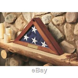 Memorial Flag Display Case with Personal Engraving 5' x 9.5' Burial, Solid Wood