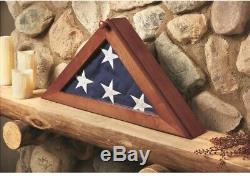Memorial Flag Display Case with Personal Engraving 5 x 9.5 Burial Solid Wood