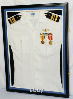 Military Uniform Display Case Frame Cabinet lock black