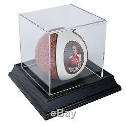 Mini Ball Display Case with Wood Base Black