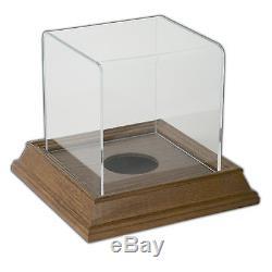 Mini Ball Display Case with Wood Base Walnut