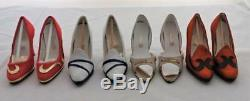 Miniature Collectible Shoes, RENETTI, Lot of 12 Pairs & White Wood Display Case