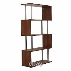 Modern Bookcase Wooden Storage Unit Display Shelves Room Divider Cabinet Brown