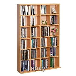 Modern Wooden Bookcase Cube Grid Display Shelves CD DVD Storage Collection Brown