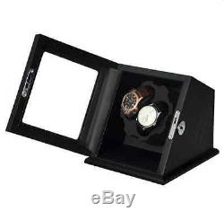 NEW Black Wood Automatic Dual Watch Winder Display Case