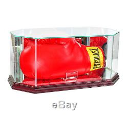 New Real Glass Boxing Glove Display Case With Cherry Wood And Mirror Back