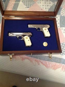 New Custom Wood Double Pistol Display Case For Colt 1911, Python, Saa