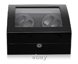 New Double Automatic Rotation 4+6 Watch Winder Case Wood Display Box Japan Motor