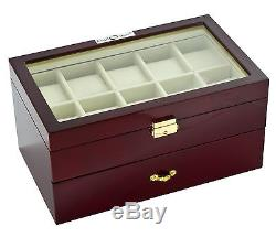 New High Quality Diplomat Cherry Wood 20 Watch Storage Box / Display Case
