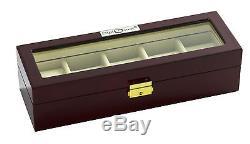 New High Quality Diplomat Cherry Wood 5 Watch Storage Box / Display Case