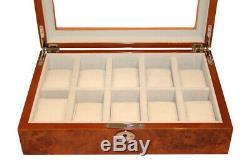 New Lockable 10 Wrist Watch Storage Box Burl Wood Gloss Display Case Luxury Box
