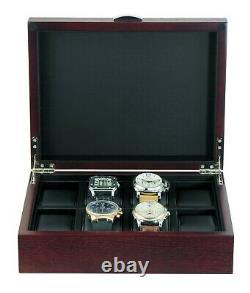 Oak 8 Wrist Watch Storage Box Wood Display Case Large Faux Leather Pillows